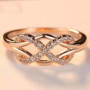*NEW Rose Gold Diamond Infinity Cross Knot Ring